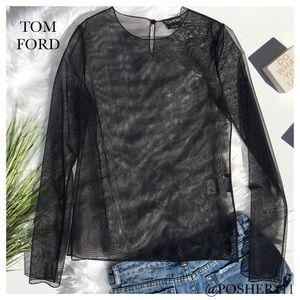 TOM FORD BLACK STRETCH MESH TOP